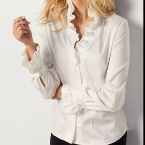 Soft surroundings white ruffel button down